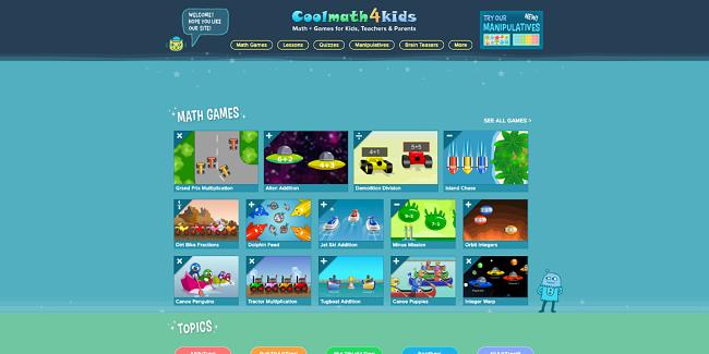 Screenshot of CoolMath4Kids main page