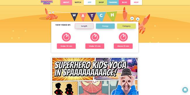 Screenshot of Cosmic Kids yoga videos