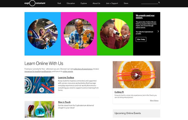 Screenshot of the Exploratorium website