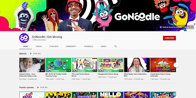 Screenshot of GoNoodle YouTube channel
