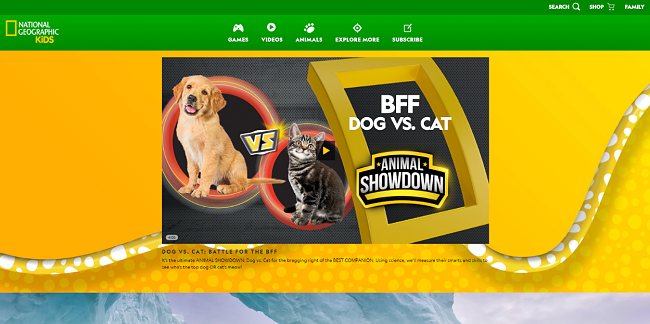 Screenshot of National Geographic Kids website