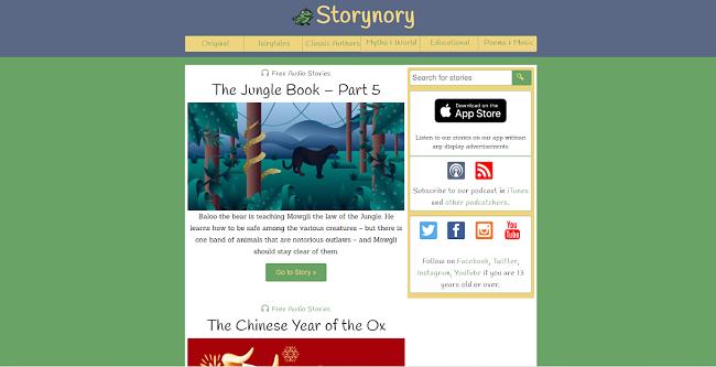 Screenshot of Storynory audio stories