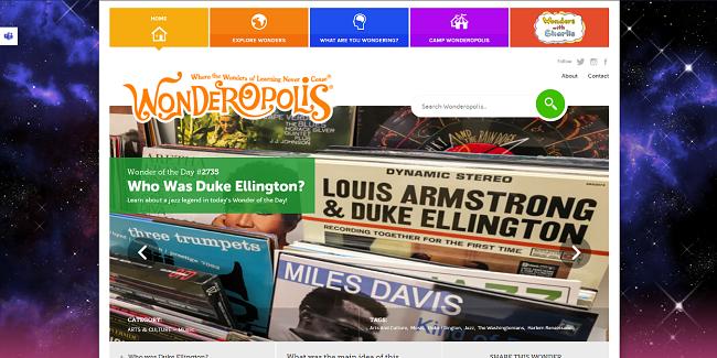 Screenshot of Wonderopolis website