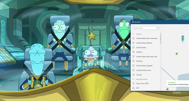 screenshot of NordVPN unblocking the Solar Opposites on Hulu