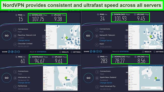 Screenshot of NordVPN's speed test result