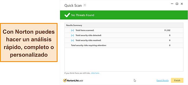 Opciones de escaneo anti-malware de Norton.