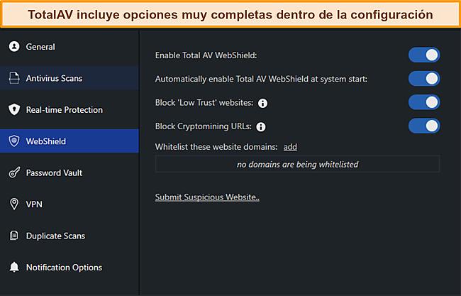 Captura de pantalla de los manuales de configuración de TotalAvs.