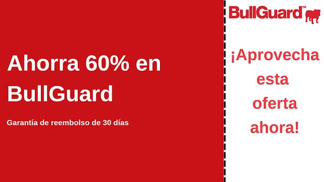 Cupón de antivirus BullGuard con 60% de descuento y garantía de devolución de dinero de 30 días