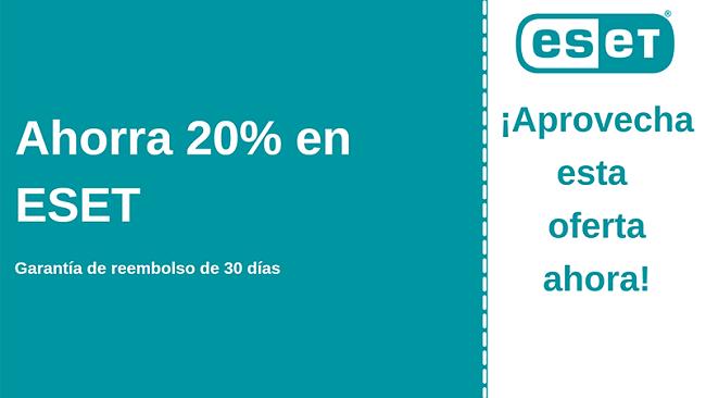 Cupón antivirus de ESET con 20% de descuento y garantía de devolución de dinero de 30 días