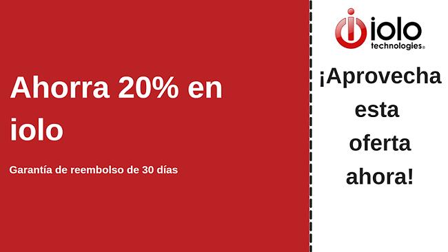 cupón de antivirus iolo con hasta un 20% de descuento en todos los planes y garantía de devolución de dinero de 30 días