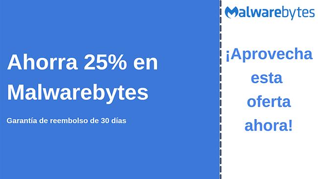Cupón antivirus de Malwarebytes con un 25% de descuento y garantía de devolución de dinero de 30 días