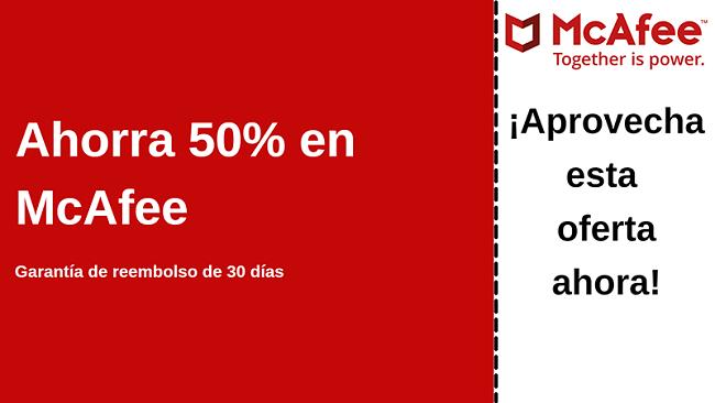 Cupón de antivirus de McAfee de hasta un 50% de descuento con una garantía de devolución de dinero de 30 días
