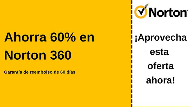 Cupón de Norton 360 antivirus con un 60% de descuento con una garantía de devolución de dinero de 60 días