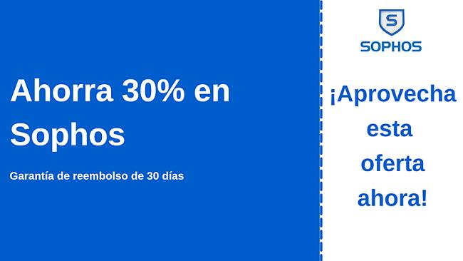 Cupón de antivirus de Sophos con 30% de descuento y garantía de devolución de dinero de 30 días