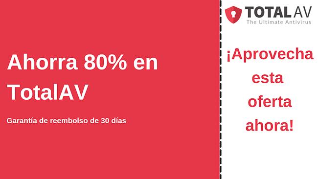 Cupón de antivirus TotalAV con hasta un 80% de descuento y garantía de devolución de dinero de 30 días