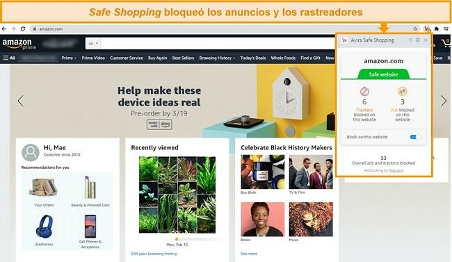 Captura de pantalla de la extensión del navegador Safe Shopping de Avira en Google Chrome.