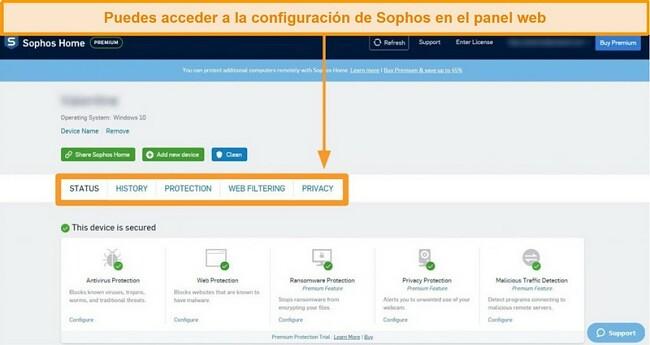 Captura de pantalla del panel de control basado en web de Sophos