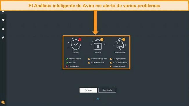 Captura de pantalla de la página de resultados de Avira Antivirus Smart Scan.