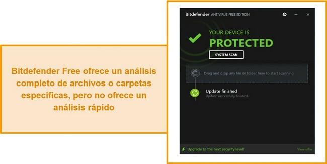 Captura de pantalla del panel de antivirus gratuito de Bitdefender.
