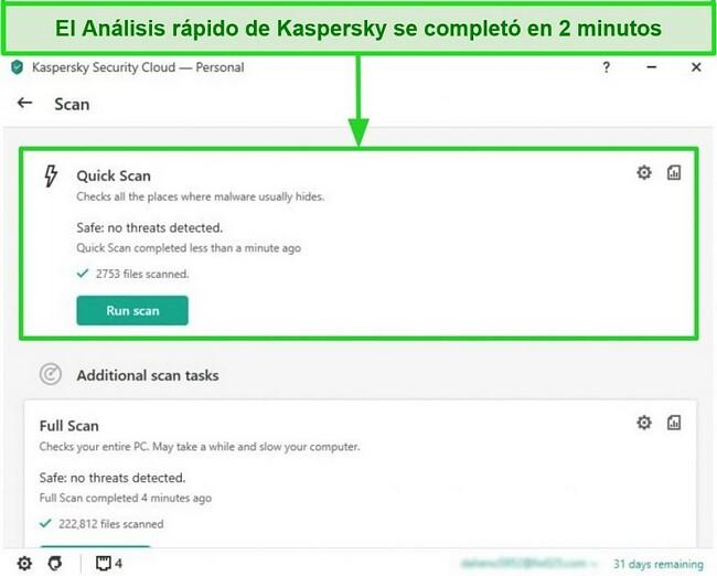 Captura de pantalla de la pantalla de resultados del análisis rápido de la aplicación de escritorio Kaspersky Antivirus.