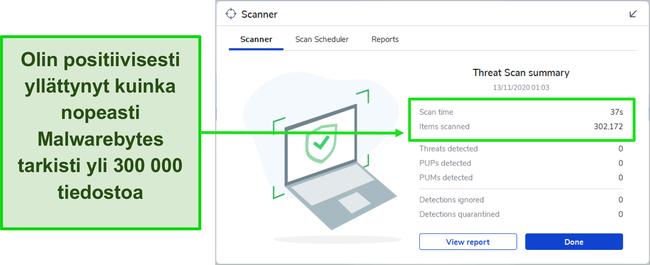 Näyttökuva Malwarebytes Threat Scan -tuloksista.