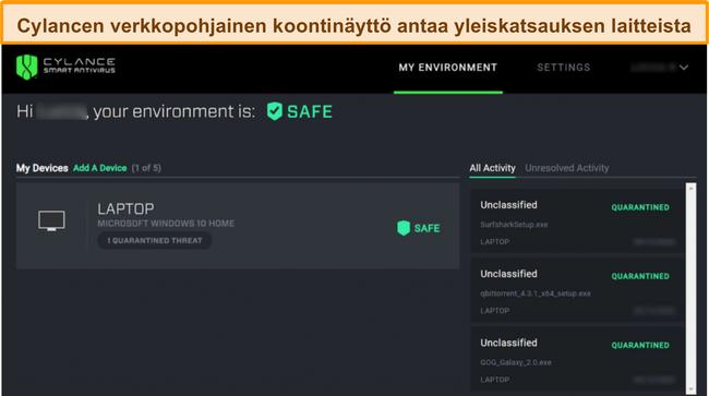 Näyttökuva Cylancen verkkopaneelista, joka näyttää yhdistettyjen laitteiden nykyisen turvallisuustason ja mitkä uhat on havaittu.