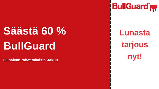 BullGuard virustentorjouskuponki, 60% alennus ja 30 päivän rahat takaisin -takuu