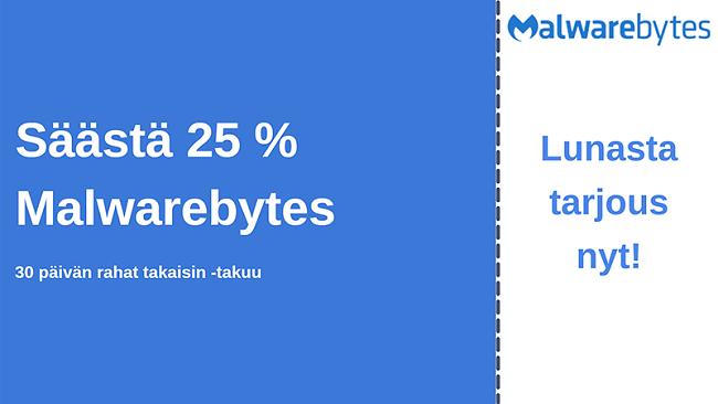 Malwarebytes-virustentorjouskuponki, 25%: n alennus ja 30 päivän rahat takaisin -takuu