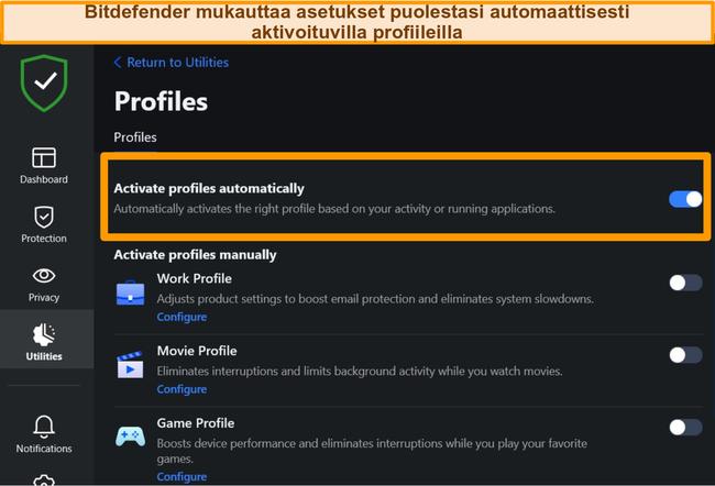Näyttökuva Bitdefenderin Profiles-asetuksesta korostettuna automaattisella aktivoinnilla.