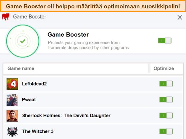 Näyttökuva BullGuardin Game Booster -määritysvaihtoehdoista.