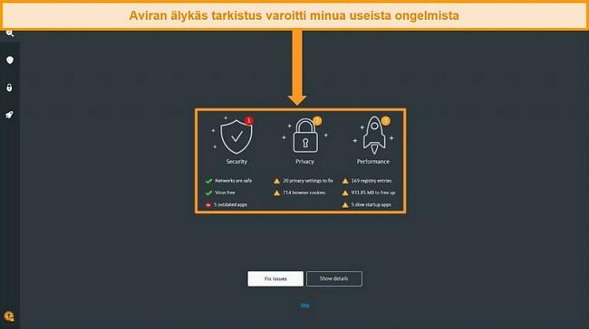 Näyttökuva Avira Antivirus Smart Scan -tulossivulta.
