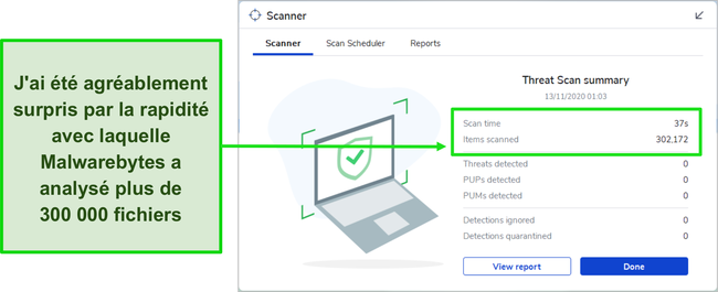Capture d'écran des résultats de l'analyse des menaces Malwarebytes.