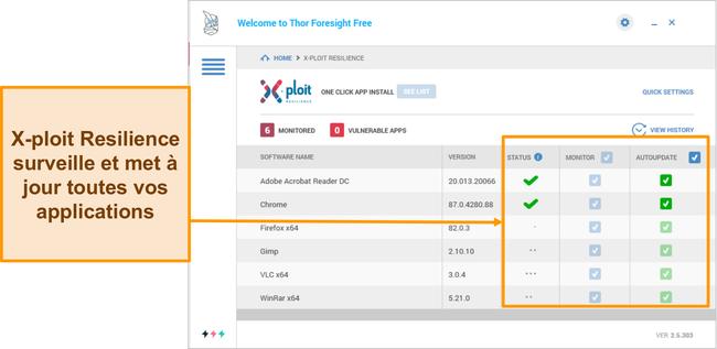Capture d'écran de la fonction Xploit Resilience de Heimdal.