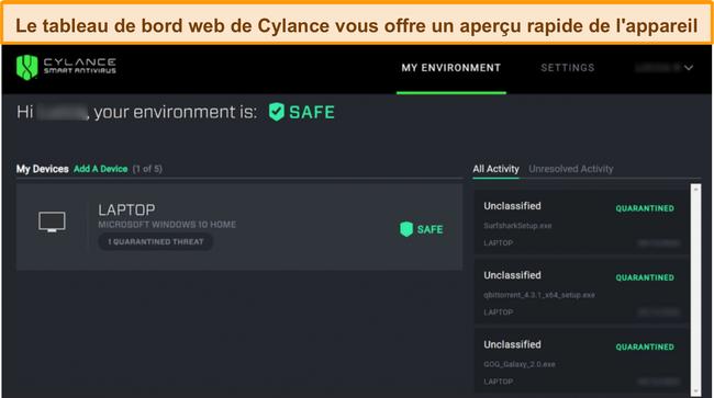 Capture d'écran du tableau de bord Web de Cylance affichant le niveau de sécurité actuel des appareils connectés et les menaces détectées.