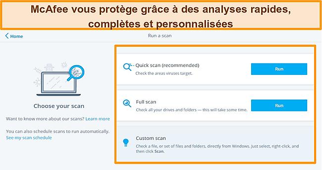 Capture d'écran de l'application antivirus McAfee avec des options d'analyse rapide, complète et personnalisée.