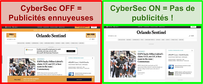 Capture d'écran de CyberSec par NordVPN supprimant les publicités du site Web d'Orlando Sentinel