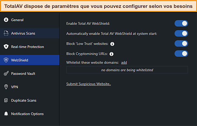 Capture d'écran du manuel des paramètres de TotalAvs.