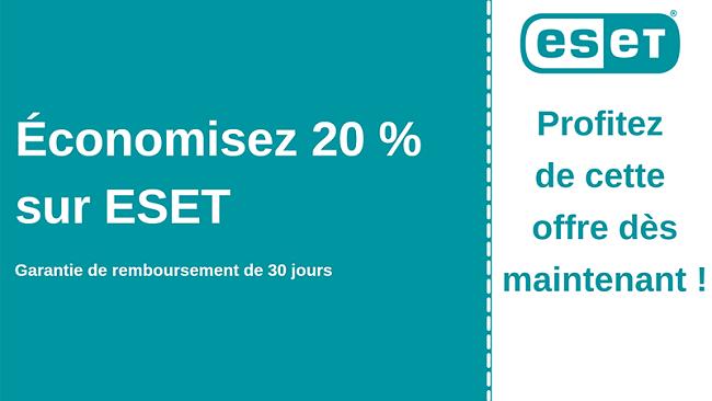 Coupon antivirus ESET avec 20% de réduction et garantie de remboursement de 30 jours