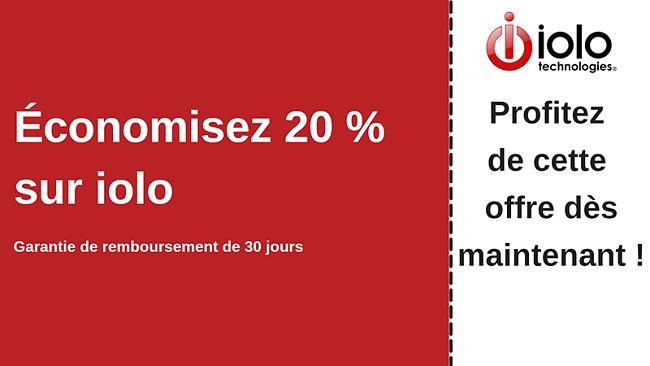 Coupon antivirus iolo avec jusqu'à 20% de réduction sur tous les plans et garantie de remboursement de 30 jours