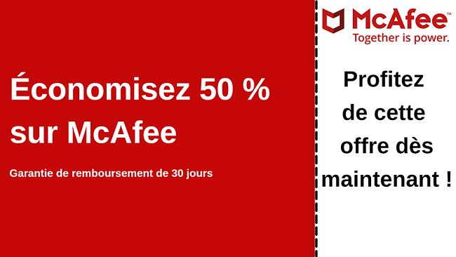 Coupon antivirus McAfee jusqu'à 50% de réduction avec une garantie de remboursement de 30 jours