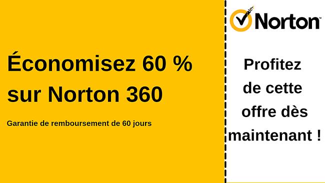 Coupon antivirus Norton 360 pour 60% de réduction avec une garantie de remboursement de 60 jours
