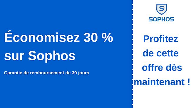 Coupon antivirus Sophos avec 30% de réduction et garantie de remboursement de 30 jours