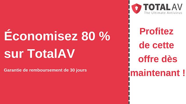 Coupon antivirus TotalAV avec jusqu'à 80% de réduction et garantie de remboursement de 30 jours