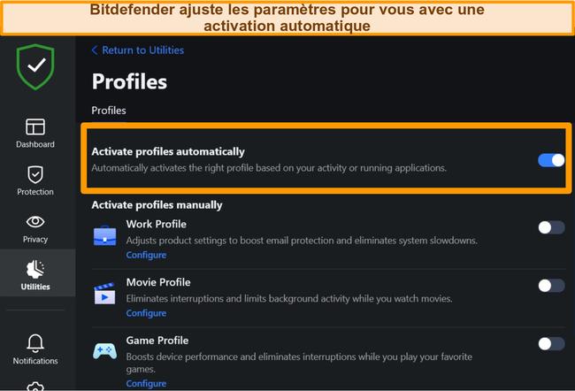 Capture d'écran du paramètre Profils de Bitdefender avec l'activation automatique en surbrillance.