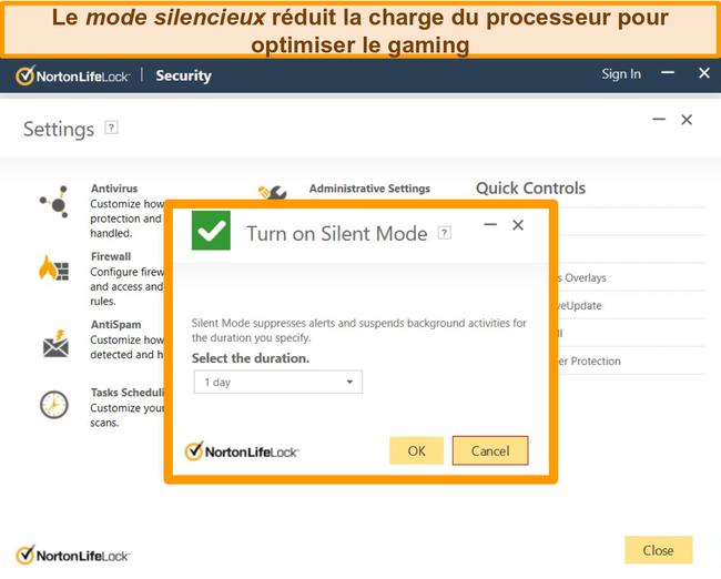 Capture d'écran de l'activation du mode silencieux de Norton.