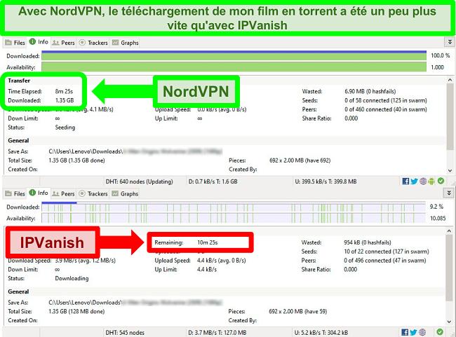 capture d'écran des vitesses de torrent NordVPN vs IPVanish