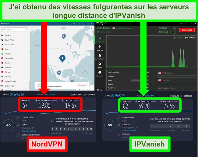 Capture d'écran de tests de vitesse sur des serveurs lointains NordVPN et IPVanish alors que chaque application est connectée à un emplacement aux États-Unis
