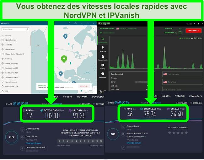 Captures d'écran des tests de vitesse de NordVPN et IPVanish connectés à des serveurs aux États-Unis
