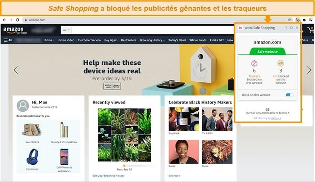 Capture d'écran de l'extension de navigateur Safe Shopping d'Avira sur Google Chrome.