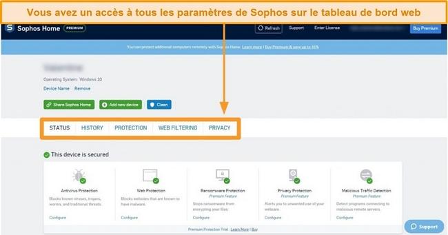 Capture d'écran du tableau de bord Web de Sophos